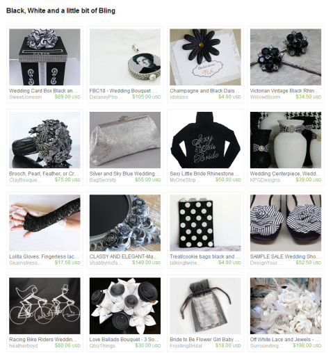 Black  White and a little bit of Bling by Natalie on Etsy