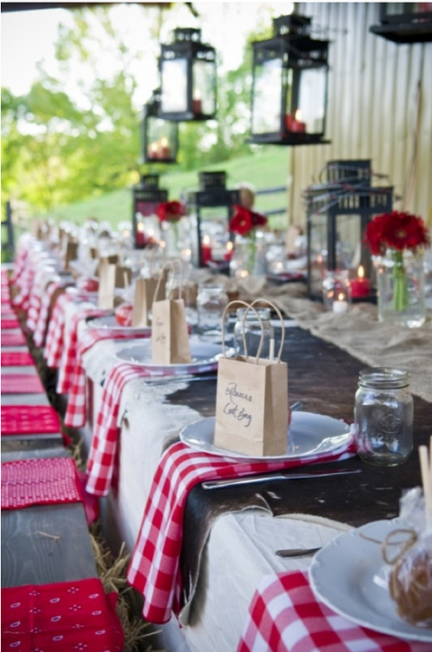 gingham table decor