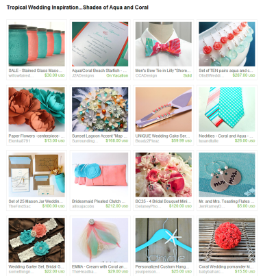 Tropical Wedding Inspiration...Shades of Aqua and Coral by Jennifer Ferencz Barato on Etsy