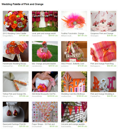 Wedding Palette of Pink and Orange by Jennifer Ferencz Barato on Etsy