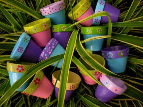 Pastel Wedding Flower Pots