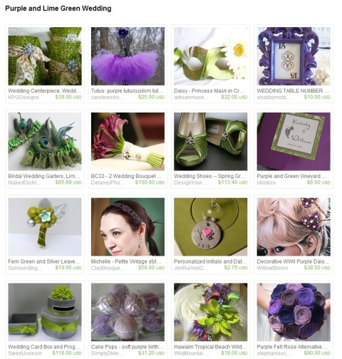 Purple and Lime Green Wedding by Kristin Ames on Etsy