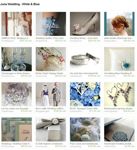 June Wedding   White   Blue by Marcie Forest on Etsy