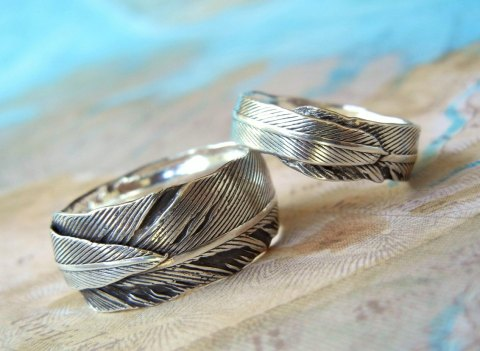 Feather Wedding Rings by Happy Go Licky