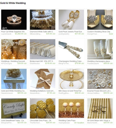 Gold   White Wedding by Brenda Jones on Etsy